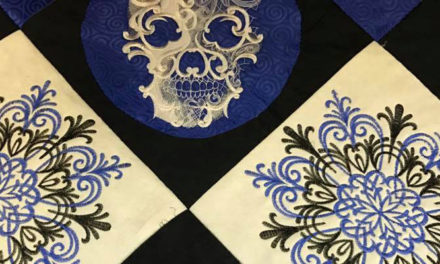 Urbanthreads Ghost Baroque Skull Blue, Grey and Black On Point On Juki TL2200 Longarm
